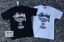 Spot Stussy World Tour Tee taped WT Painting Tour Short Sleeve T-shirt in Black and White