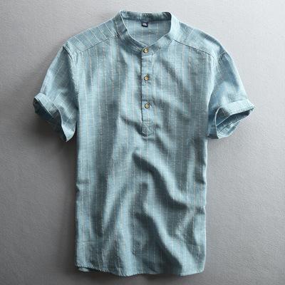 夏季圆领男士休闲亚麻衬衫短袖套头立领中国风薄款条纹棉麻布衬衣