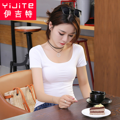 新款大圆领纯色T恤女短袖新款韩版简约紧身体恤休闲打底上衣纯棉