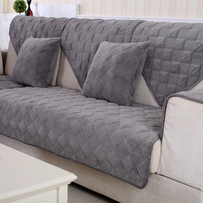 沙发垫布艺 纯色简约现代毛绒加厚防滑实木沙发套罩巾法兰绒冬季旗舰店