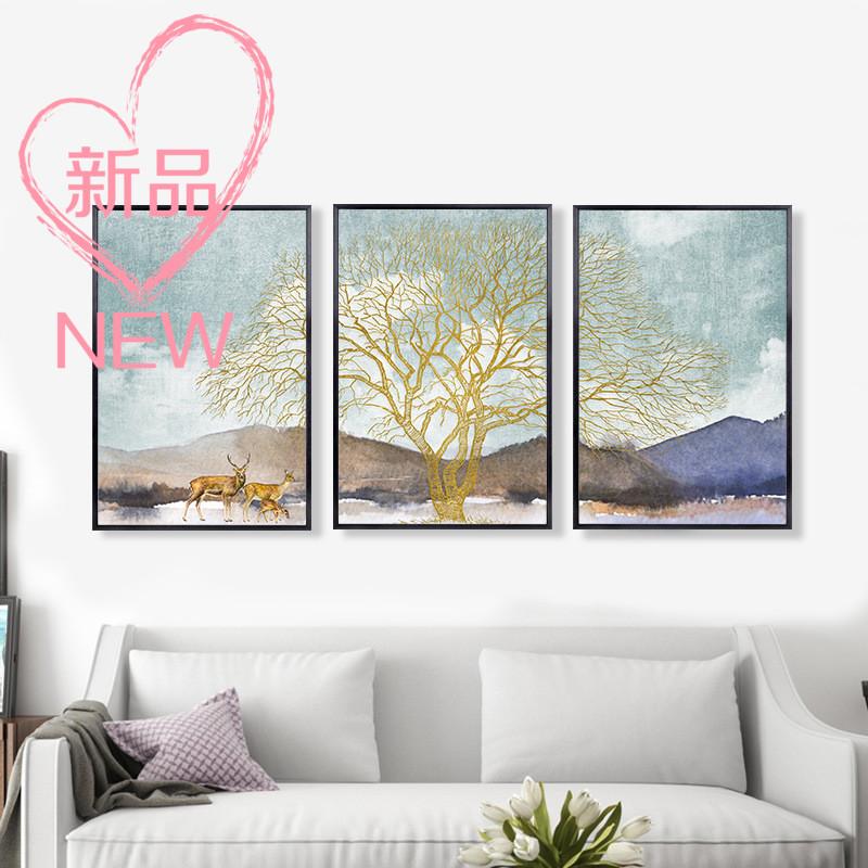 福鹿黄金发财树客厅装饰画现代抽象大气轻奢壁画餐厅玄关沙发墙
