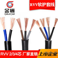 Jinbei national standard RVV power cord 2 core 3 core 4 pure copper 0.5x1*1.5/2.5 square sheath line household wire
