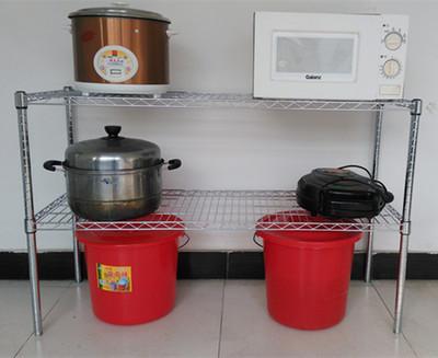厨房两层置物架落地杂物架鞋架桌面整理架不锈钢色金属微波炉架子正品折扣