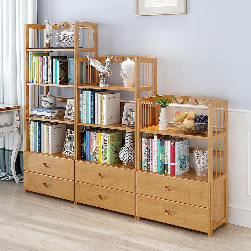 简易书架学生书柜实木收纳置物架抽屉书架简约现代多功能书架落地