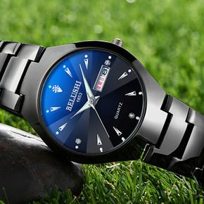 正品钨钢带手表男潮学生手表男士机械手表女时尚防水石英情侣手表