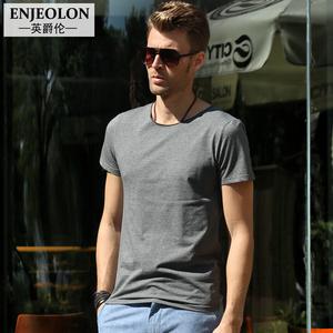 英爵伦夏季男士短袖T恤英伦风男装衣服纯色夏装欧美上衣潮体恤