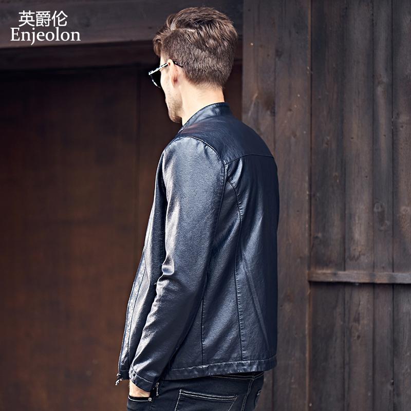 英爵伦 男士皮衣 夹克外套机车服立领皮夹克2019新款修身韩版帅气