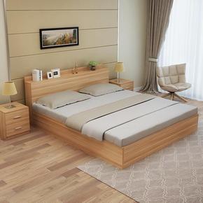 白色简约双人床板式1.5m小户型收纳床主卧室1.8米实木高箱储物床