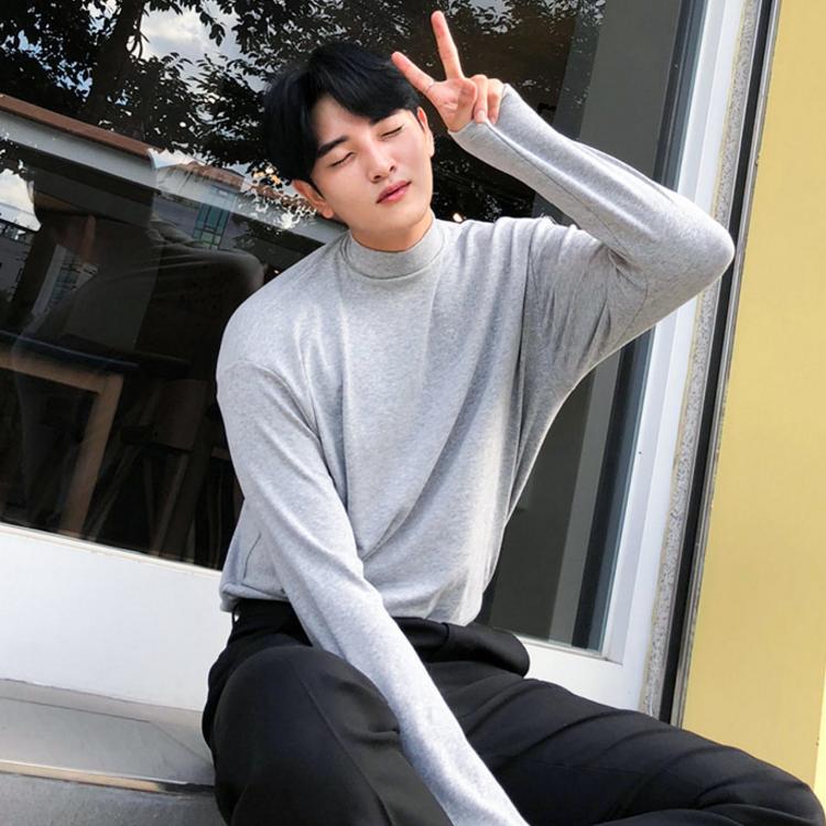 东大门韩国男装代购纯色弹性亲肤半高领宽松落肩长袖上衣潮搭T恤