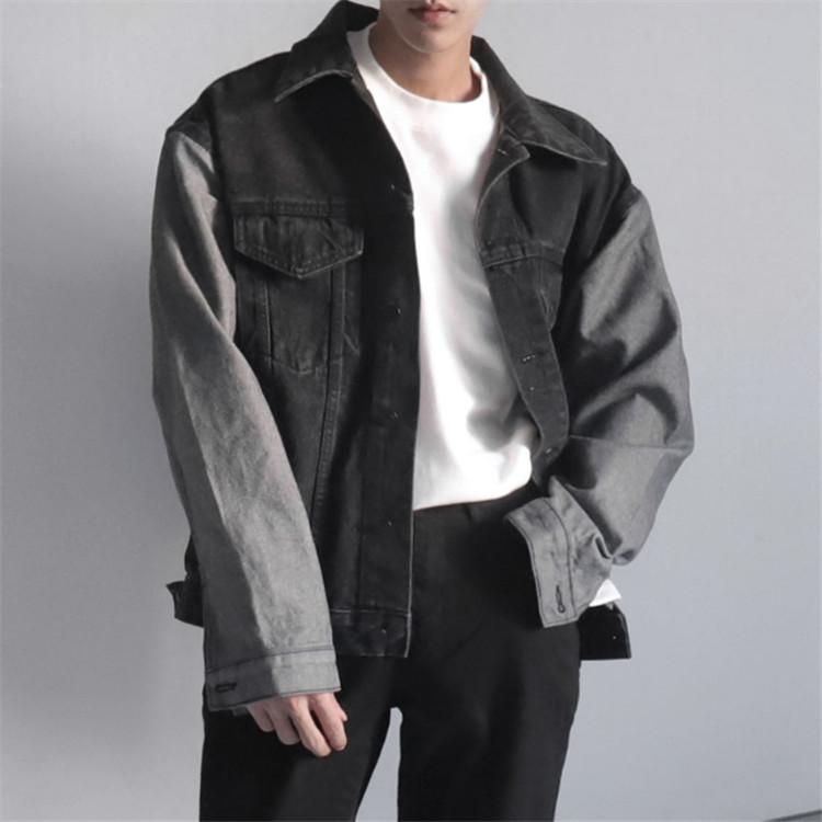 东大门韩国男装代购时尚撞色拼接宽松微阔方领韩版牛仔夹克外套