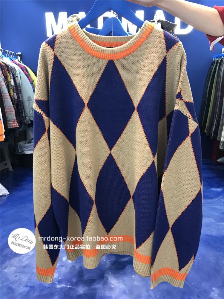 东大门韩国男装代购时尚菱形撞色宽松实拍落肩针织衫羊毛套头毛衣