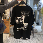 直播款 T恤190430 式背后皇后乐队贴图宽松短袖 代购 东大门韩国男装