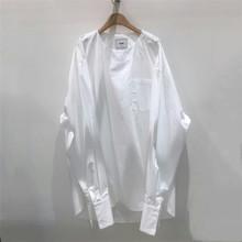 韩国男装代购东大门潮衬衣袖口秀款纯色宽松落肩长袖T恤上衣90724