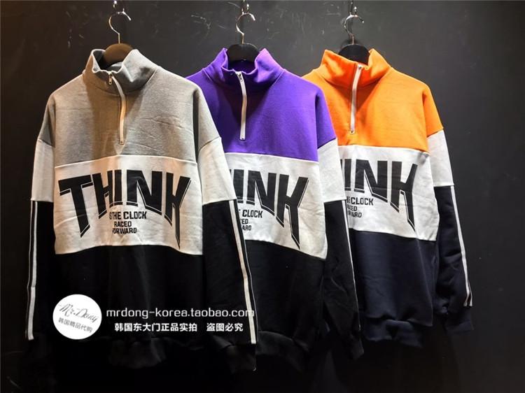 东大门韩国男装代购创意混色拼接拉链高领棉质落肩套头卫衣19新