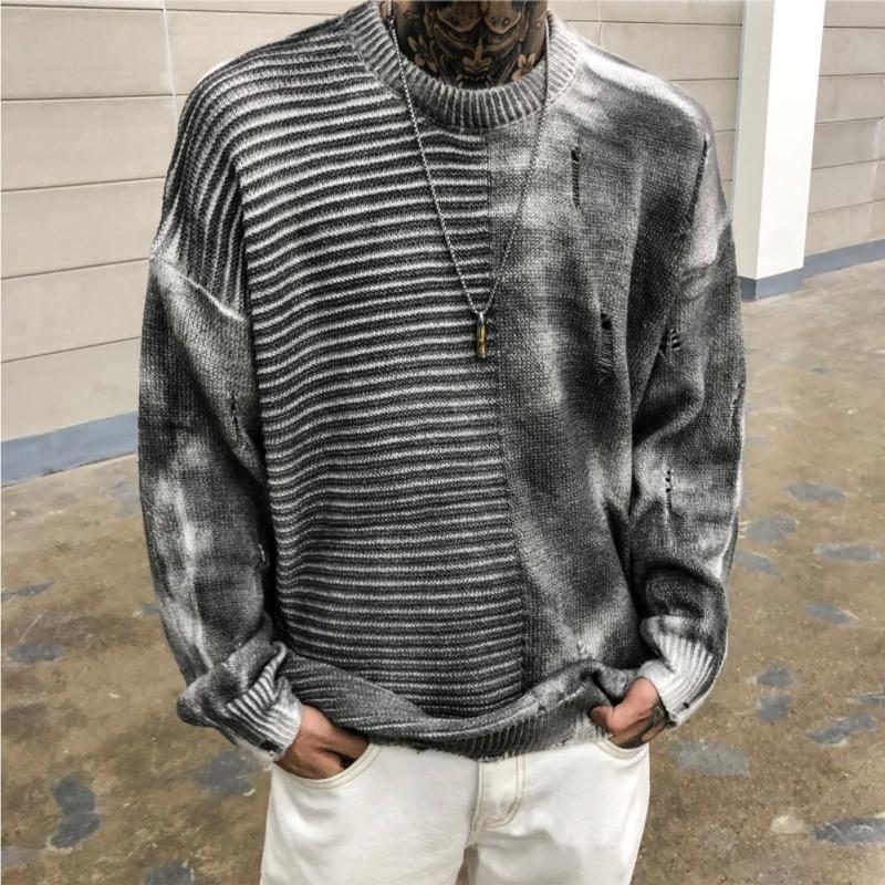 韩国东大门男装代购做旧秀款拉丝落肩针织衫纹理拼接套头毛衣1002
