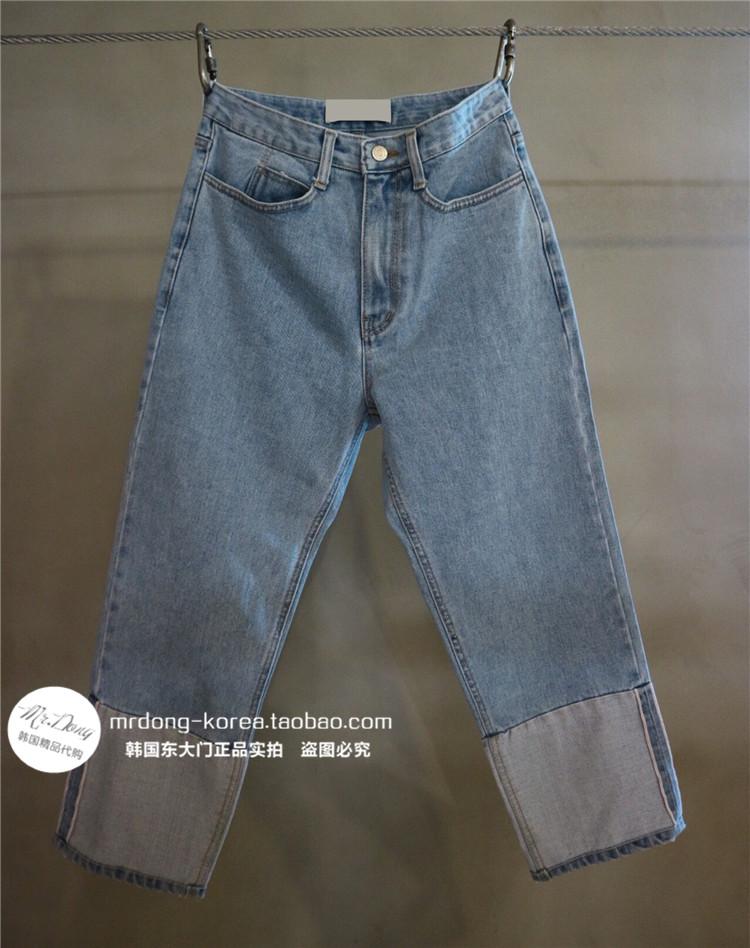 韩国东大门男装代购个性宽松撞色拼接浅色磨白水洗九分直筒牛仔裤