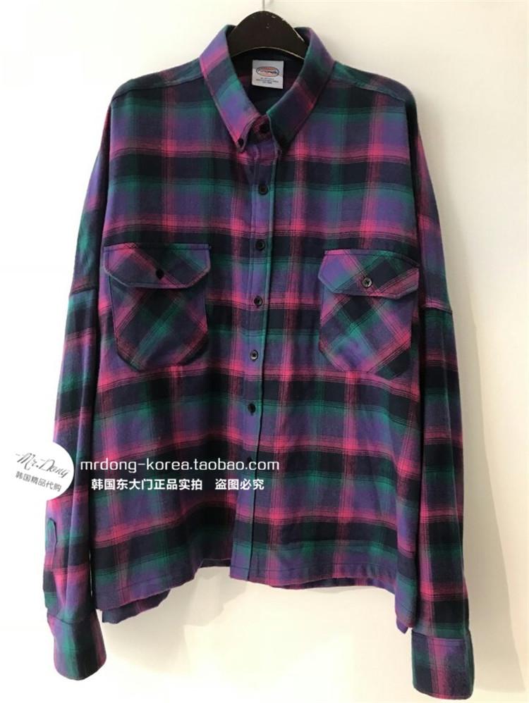 东大门韩国男装代购混色格纹撞色方领气质宽松落肩长袖衬衫18衬衣