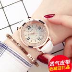 女士手表防水时尚2017新款韩版简约皮带夜光潮流水钻时装石英女表