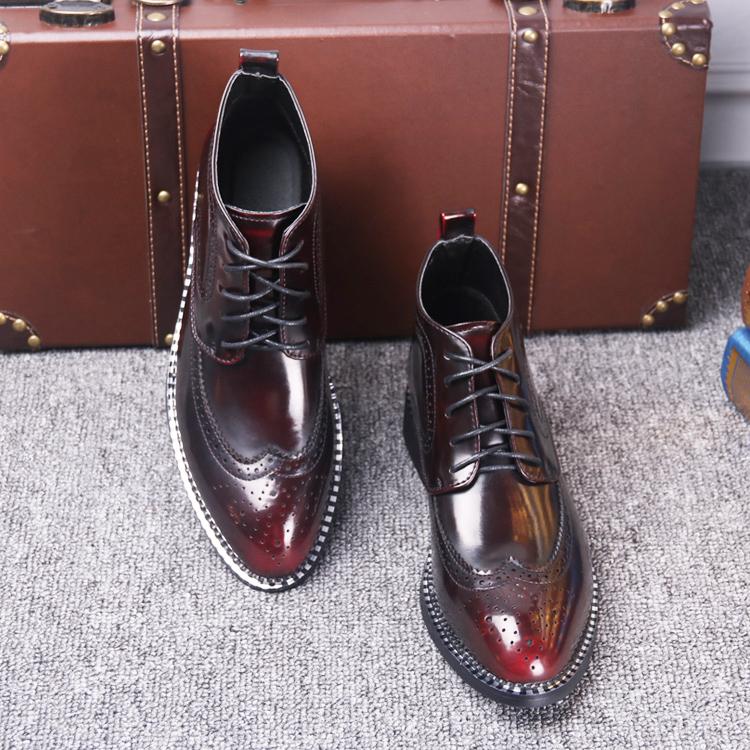 布洛克尖头男鞋靴子