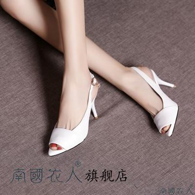 18春夏新款女鞋百搭带钻高跟鞋女细单跟鱼嘴凉鞋头层牛皮凉皮鞋潮