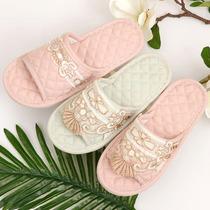 家居拖鞋室内女夏家用棉麻软底防滑布木地板欧式蕾丝布底拖鞋四季