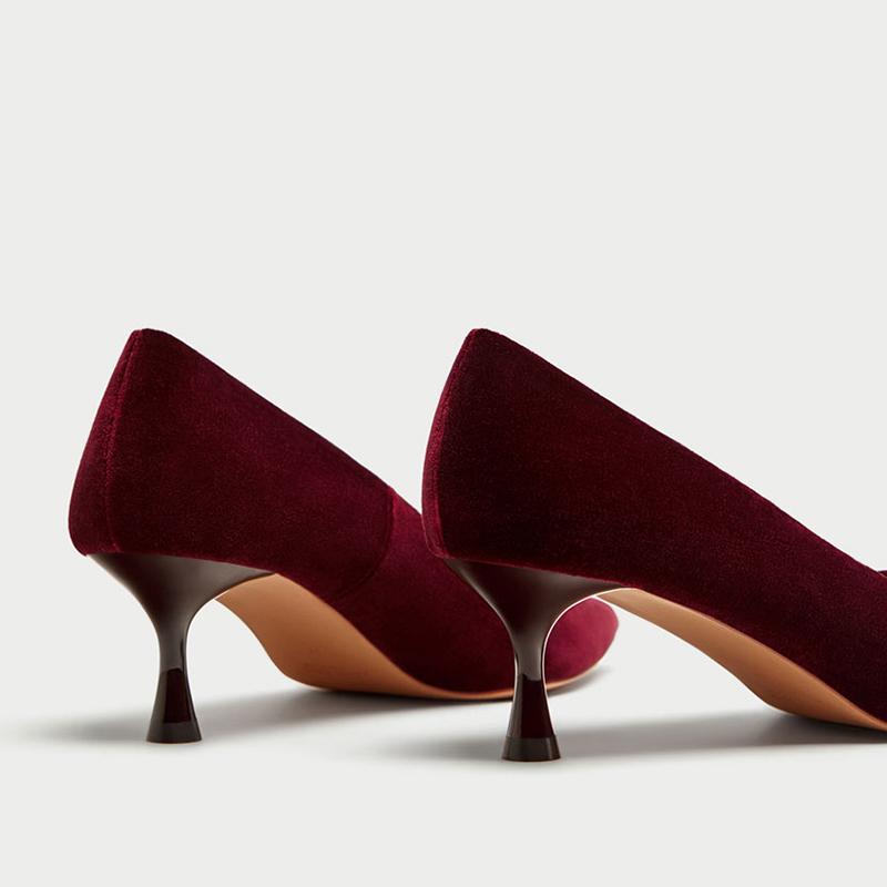 ZA家酒杯跟酒红色婚鞋天鹅绒高跟鞋 5cm黑色工作单鞋猫跟尖头女鞋