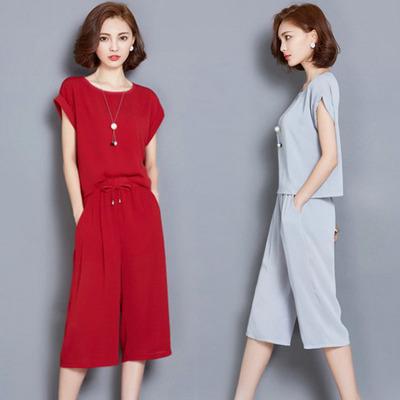 深依度2018春夏装新款大码女装两件套夏季短袖上衣阔腿裤套装8806
