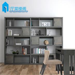 北欧创意书柜 简约现代黑橡木带门大储物书柜展示柜书架陈列架T40