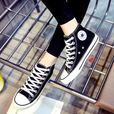 春季新款纯色帆布鞋男女学生高帮板鞋布鞋休闲女鞋韩版情侣鞋百搭