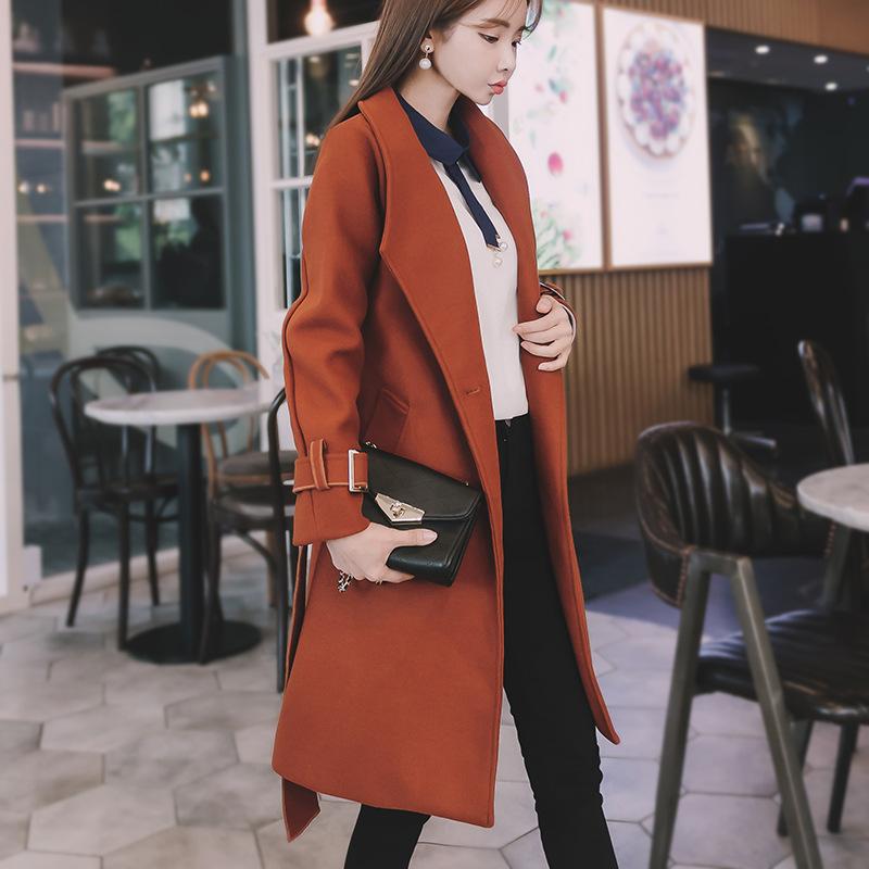 毛呢外套2018冬新款韩版长款过膝一粒扣宽松显瘦加厚毛呢大衣女装