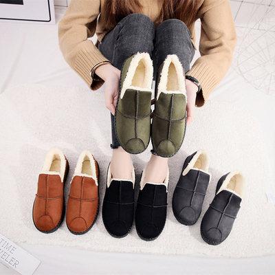 雪地靴女款学生韩版棉鞋女冬百搭一脚蹬面包鞋季磨砂懒人保暖加绒