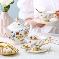 European pastoral small floral bone china coffee set English afternoon tea set ceramic coffee cup set complete gift box