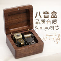 Wooden music box custom music box female sky city diy children birthday gift girl creative little girl