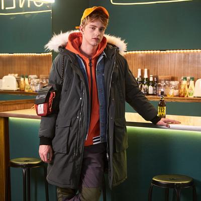 唐狮2018冬季新品中长款棉衣男青少年连帽毛领韩版净色潮流外套