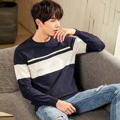 唐狮2018春季新款毛衣男士韩版圆领针织衫撞色拼接薄款线衣男潮流