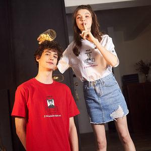 【2件5折】唐狮情侣装夏装2018新款短袖T恤男ins超火韩版圆领潮流