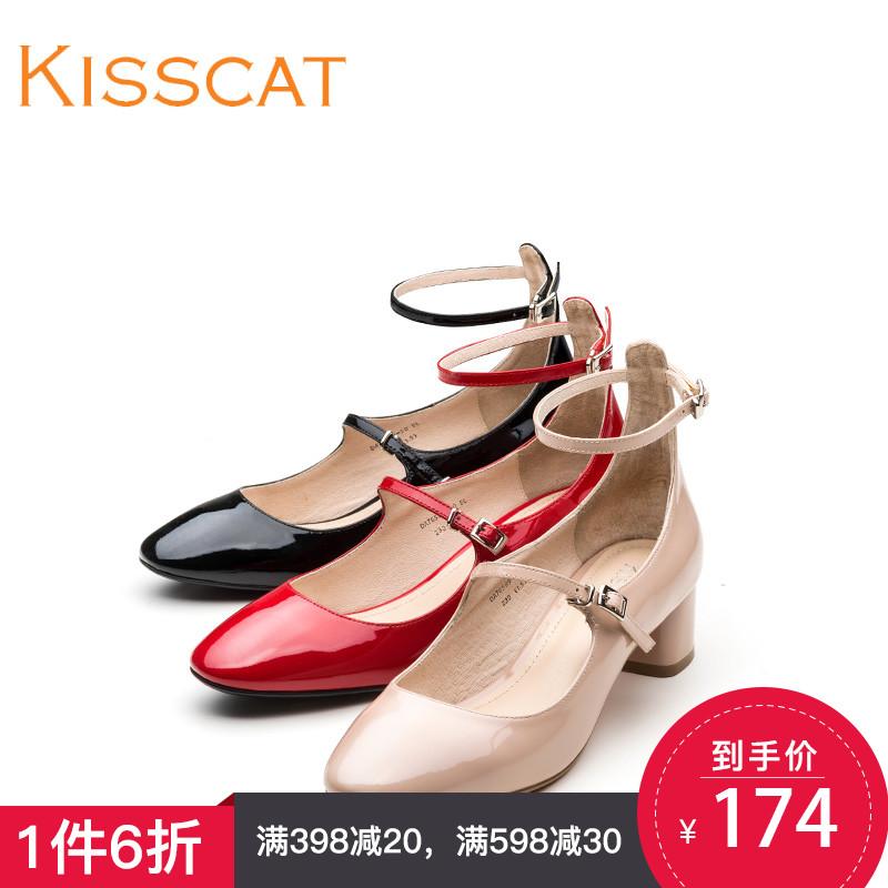 接吻猫新款一字带休闲玛丽珍鞋牛皮粗跟浅口单鞋女鞋DA86589-50