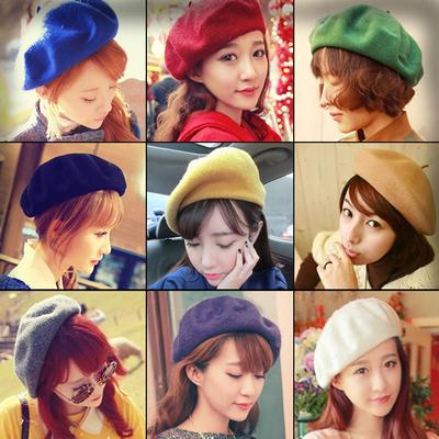 韩国秋冬天贝雷帽复古英伦画家帽蓓蕾帽纯羊毛线帽子女韩版潮冬季