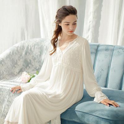 宫廷睡裙女公主长款复古夏秋欧美仙长家居服超仙性感蕾丝网纱睡衣