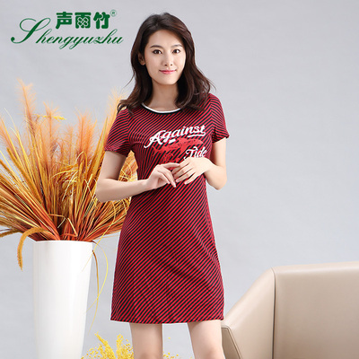 声雨竹女装夏季新品 经典条纹简约印花字母修身短袖圆领连衣裙