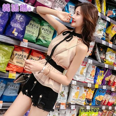 韩语琳夏装小衫新款2018韩版女装性感露肩无袖挂脖绑带收腰上衣女