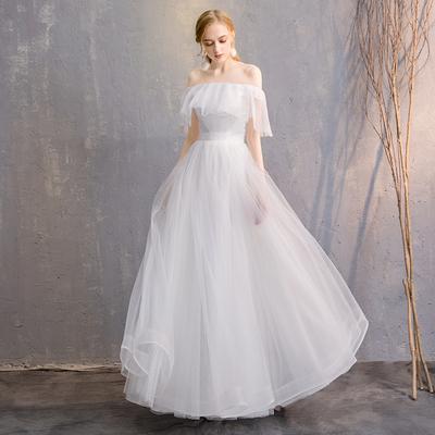 晚礼服长款白色2018新款显瘦伴娘服姐妹裙年会晚礼服主持演出服女