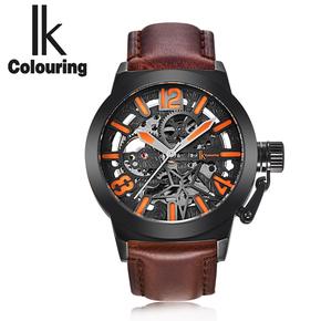新款IK阿帕琦文艺复古军工男士全自动机械手表镂空皮带腕表休闲