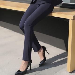 200斤胖mm夏裤子西装长裤加大码女装夏季通勤OL职业显瘦小脚裤薄