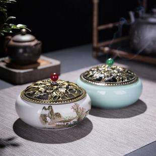 日式创意陶瓷香炉蚊香炉家用大号家用室内现代盘香炉檀香香薰炉