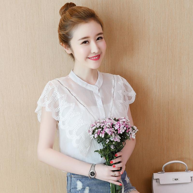 超仙少女夏装上衣蝴蝶蕾丝花边衬衫大学生无袖无领寸衣雪纺衫甜美