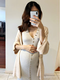 Golden 茧 maternity dress autumn fashion cardigan knit fir coat loose outside take lazy wind sweater women