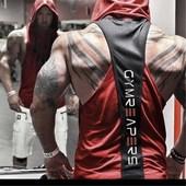 帽衫 肌肉健身兄弟男士 跑步运动锻炼背心连帽工字宽松弹力速干无袖图片