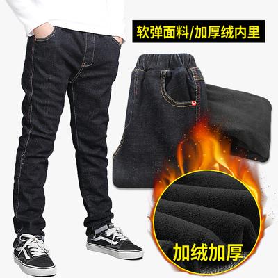 男童棉裤加绒外穿儿童牛仔裤男保暖2018新款秋冬加厚长裤中大童