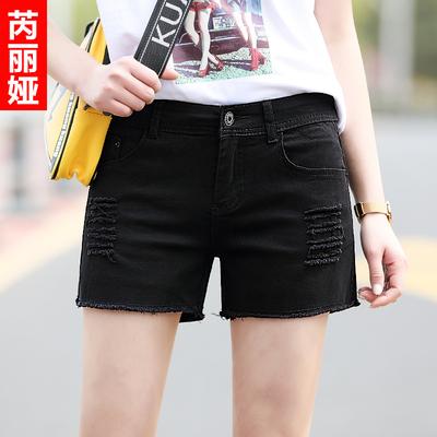 芮丽娅牛仔短裤女破洞夏季2018新款显瘦chic宽松黑色韩版学生热裤